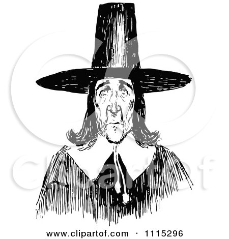 Clipart Vintage Black And White Puritan Man - Royalty Free ...