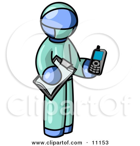 Blue Surgeon Man Holding a Clipboard and Cellular Telephone Clipart Illustration by Leo Blanchette