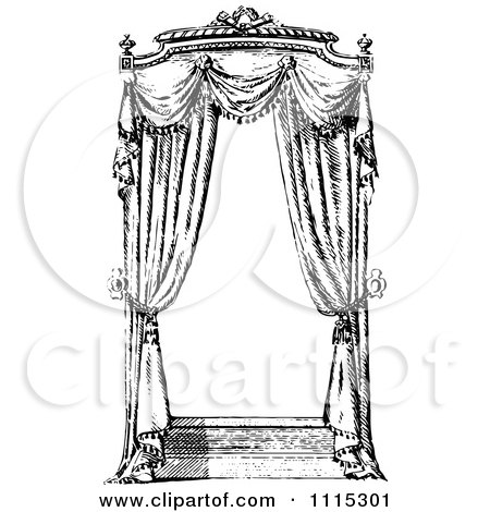 Clipart Vintage Black And White Window With Curtains 1 - Royalty Free Vector Illustration by Prawny Vintage