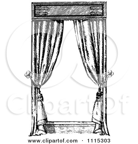 Clipart Vintage Black And White Window With Curtains 3   Royalty Free Vector  Illustration By Prawny Vintage