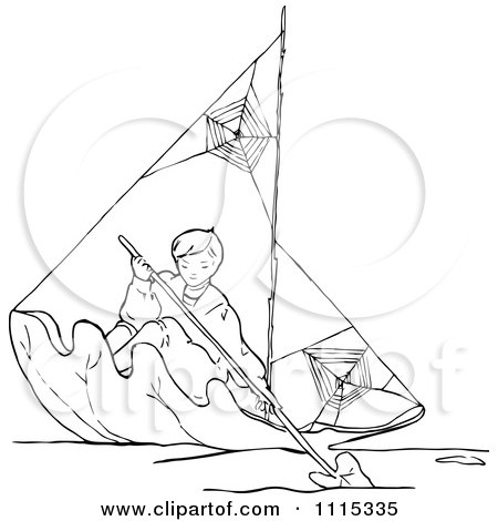 Clipart Vintage Black And White Boy Rowing A Leaf Boat - Royalty Free Vector Illustration by Prawny Vintage