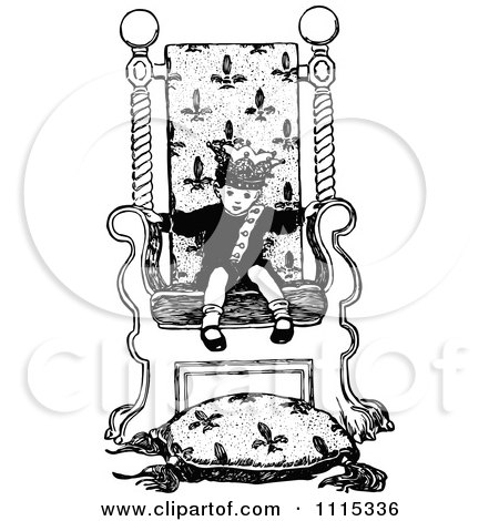 Clipart Vintage Black And White Boy King In A Chair - Royalty Free Vector Illustration by Prawny Vintage