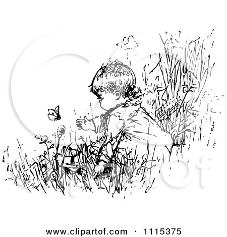 Clipart Vintage Black And White Baby In A Garden With
