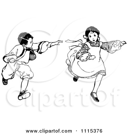 Black  White Flower Picture on Clipart Vintage Black And White Brother And Sister Playing Tag