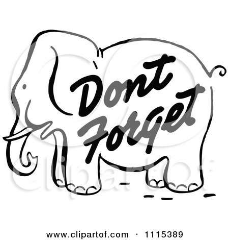 Clipart Vintage Black And White Dont Forget Reminder Elephant - Royalty Free Vector Illustration by Prawny Vintage