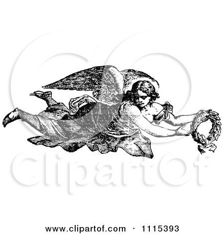 Clipart Vintage Black And White Angel Flying With A Wreath