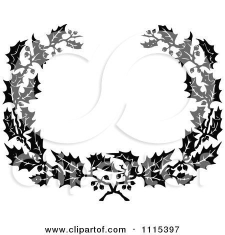 Vintage Black And White Holly Wreath