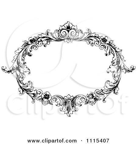 Clipart Vintage Black And White Ornate Oval Frame - Royalty Free Vector Illustration by Prawny Vintage