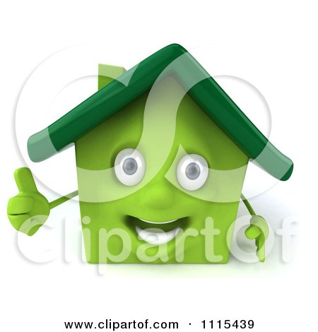 Clipart 3d Happy Green House Holding A Thumb Up - Royalty Free CGI Illustration by Julos