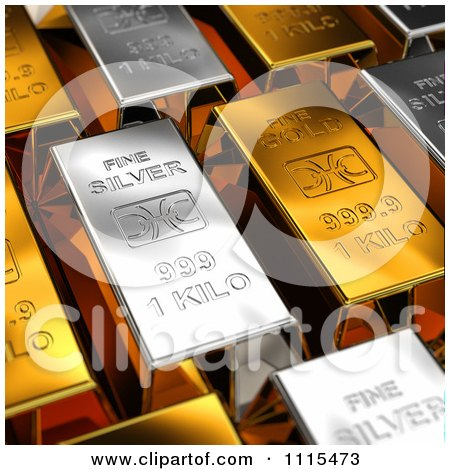 Clipart 3d Gold And Silver Bars - Royalty Free CGI Illustration by stockillustrations