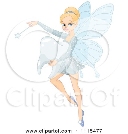 Cartoon Beautiful Blond Tooth Fairy Flicking Her Wand And Carrying A Molar - Royalty Free Vector Clipart by Pushkin