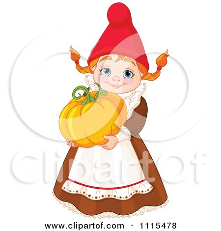 Cartoon Cute Female Garden Gnome Carrying A Pumpkin - Royalty Free Vector Clipart by Pushkin