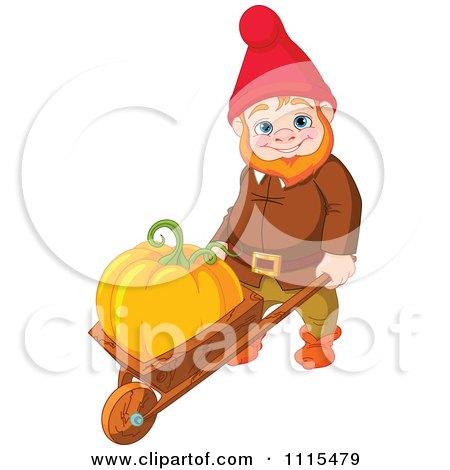 Cartoon Cute Male Garden Gnome Puahing A Pumpkin In A Wheelbarrow - Royalty Free Vector Clipart by Pushkin