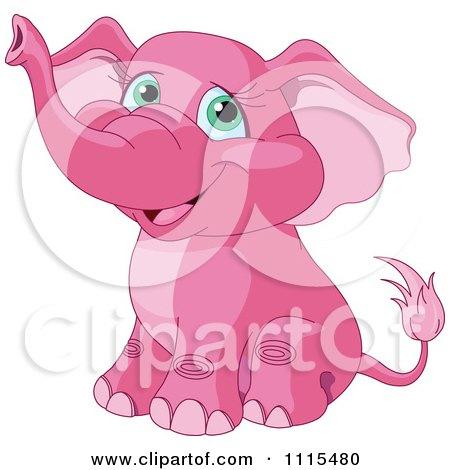 Cute pink elephant cartoon - photo#11