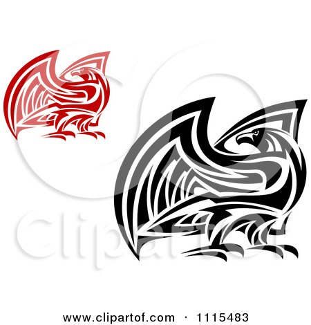 Clipart Tribal Falcons Eagles Or Hawks - Royalty Free Vector Illustration by Vector Tradition SM