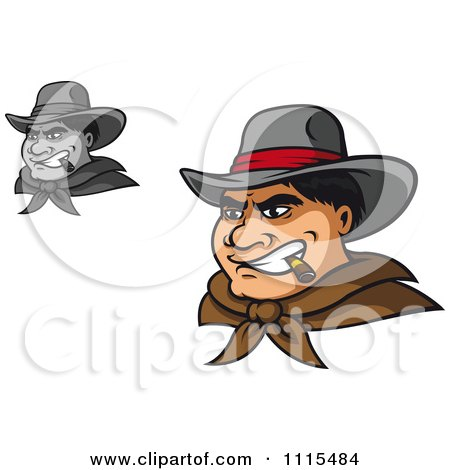 Clipart Grayscale And Colored Tough Wild West Cowboys Smoking Cigars - Royalty Free Vector Illustration by Vector Tradition SM