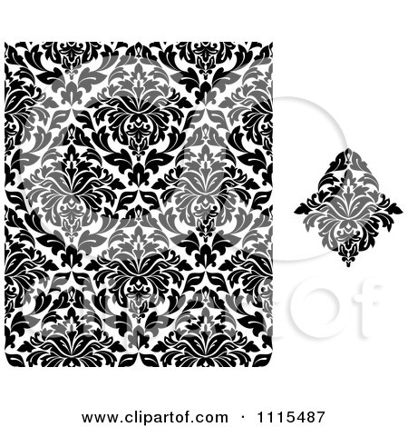Clipart Damask Design And Black And White Pattern - Royalty Free Vector Illustration by Vector Tradition SM