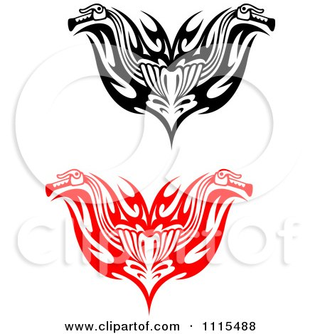 Clipart Red And Black Tribal Motorcycle Biker Handlebars - Royalty Free Vector Illustration by Vector Tradition SM