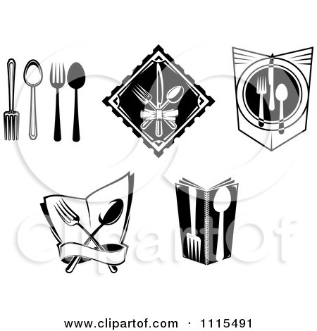 Black And White Dining And Restaurant Silverware Logos Posters, Art Prints