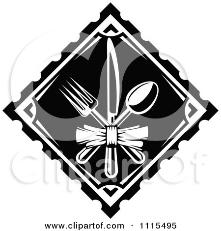 Clipart Black And White Dining And Restaurant Silverware Menu Logo 1 - Royalty Free Vector Illustration by Vector Tradition SM