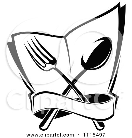 Clipart Of A Black And White Chef Holding A Menu Board - Royalty ...