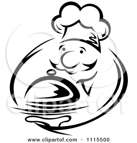 Clipart Black And White Chef Serving A Platter - Royalty Free Vector Illustration by Vector Tradition SM
