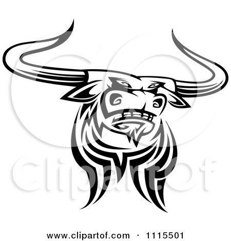 Clipart Black And White Tribal Texas Longhorn Steer Bull 2 - Royalty ...
