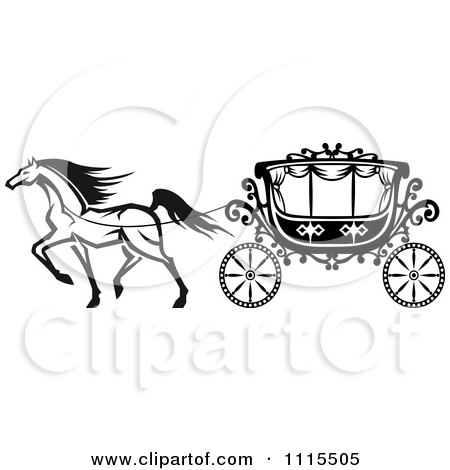 Clipart Black And White Horse And Romantic Wedding Carriage - Royalty Free Vector Illustration by Vector Tradition SM