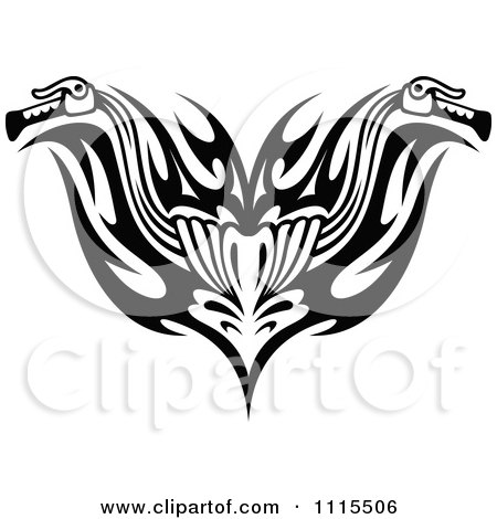 Clipart Black And White Tribal Motorcycle Biker Handlebars - Royalty Free Vector Illustration by Vector Tradition SM