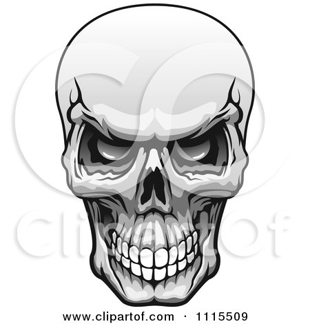 Clipart Grayscale Evil Human Skull Grinning - Royalty Free Vector Illustration by Vector Tradition SM