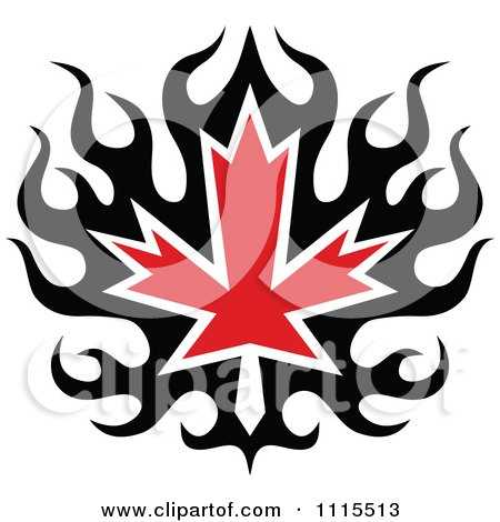 Clipart Black And Red Tribal Maple Leaf 1 - Royalty Free Vector Illustration by Vector Tradition SM
