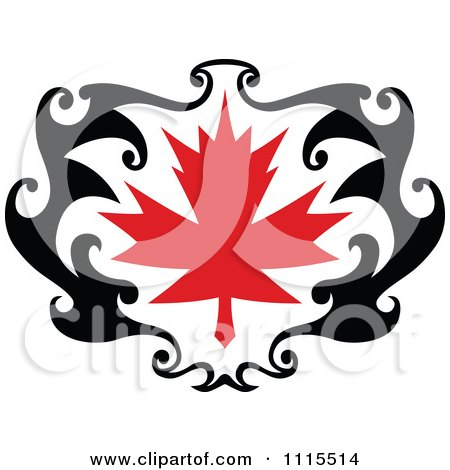 Clipart Black And Red Tribal Maple Leaf 3 - Royalty Free Vector Illustration by Vector Tradition SM