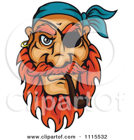 Clipart Pirate Smoking A Tobacco Pipe - Royalty Free Vector Illustration by Vector Tradition SM