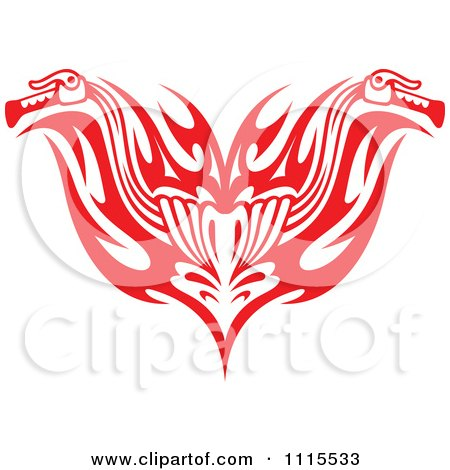 Clipart Red Tribal Motorcycle Biker Handlebars - Royalty Free Vector Illustration by Vector Tradition SM