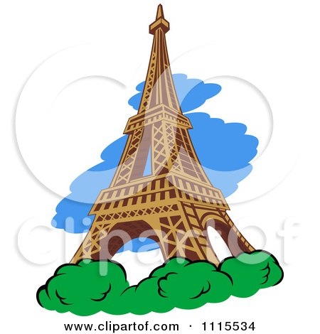 Clipart The Eiffel Tower With Shrubs And Blue - Royalty Free Vector Illustration by Vector Tradition SM