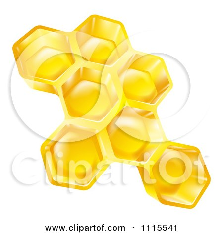 Clipart 3d Golden Honeycombs - Royalty Free Vector Illustration by AtStockIllustration