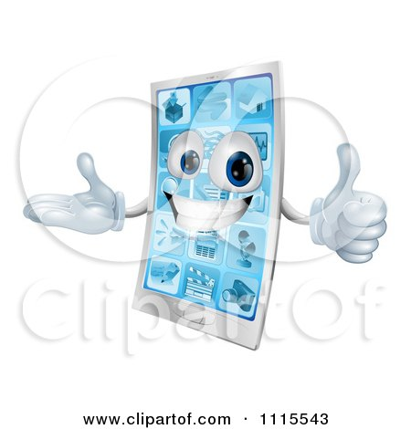 Clipart 3d Happy Cell Phone Mascot Holding A Thumb Up - Royalty Free Vector Illustration by AtStockIllustration