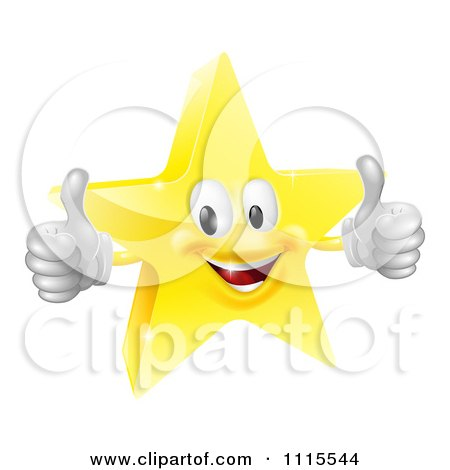 Clipart 3d Star Mascot Holding Two Thumbs Up - Royalty Free Vector Illustration by AtStockIllustration