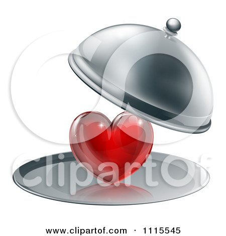 Clipart 3d Cloche Revealing A Shiny Red Heart On A Platter - Royalty Free Vector Illustration by AtStockIllustration