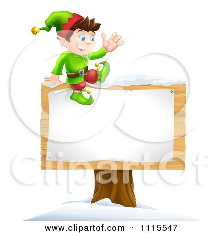Clipart Waving Happy Christmas Elf Sitting On A Sign - Royalty Free Vector Illustration by AtStockIllustration