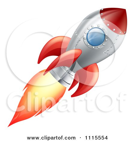 Clipart Red And Metal Space Rocket Flying - Royalty Free Vector Illustration by AtStockIllustration