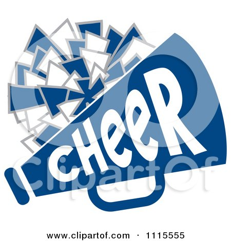 clipart cheerleader pom pom and megaphone in blue tones - royalty
