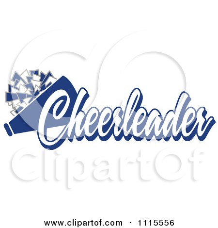 Clipart Blue Cheerleader Text With A Pom Pom And Megaphone - Royalty Free Vector Illustration by Johnny Sajem