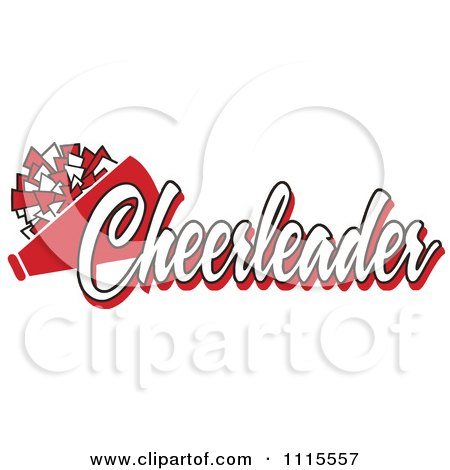 Clipart Red Cheerleader Text With A Pom Pom And Megaphone - Royalty Free Vector Illustration by Johnny Sajem