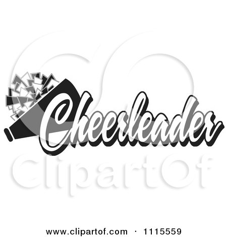 Clipart Black And White Cheerleader Text With A Pom Pom And Megaphone - Royalty Free Vector Illustration by Johnny Sajem
