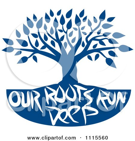 Clipart Family Tree With Our Roots Run Deep Text In Blue - Royalty Free Vector Illustration by Johnny Sajem