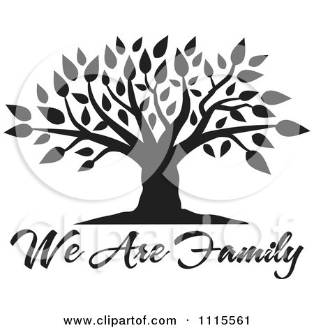 Clipart Black Tree Over We Are Family Text - Royalty Free Vector Illustration by Johnny Sajem