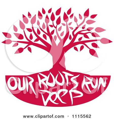 Clipart Red Family Tree With Our Roots Run Deep Text - Royalty Free Vector Illustration by Johnny Sajem