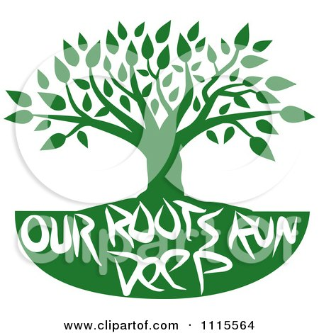 Clipart Green Family Tree With Our Roots Run Deep Text - Royalty Free Vector Illustration by Johnny Sajem