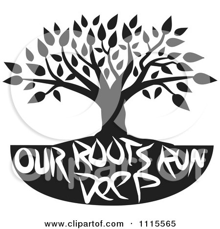 Clipart Black And White Family Tree With Our Roots Run Deep Text - Royalty Free Vector Illustration by Johnny Sajem